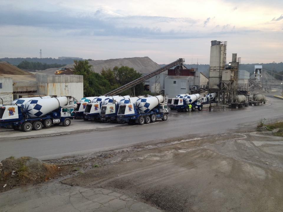 concrete mixers in the yard
