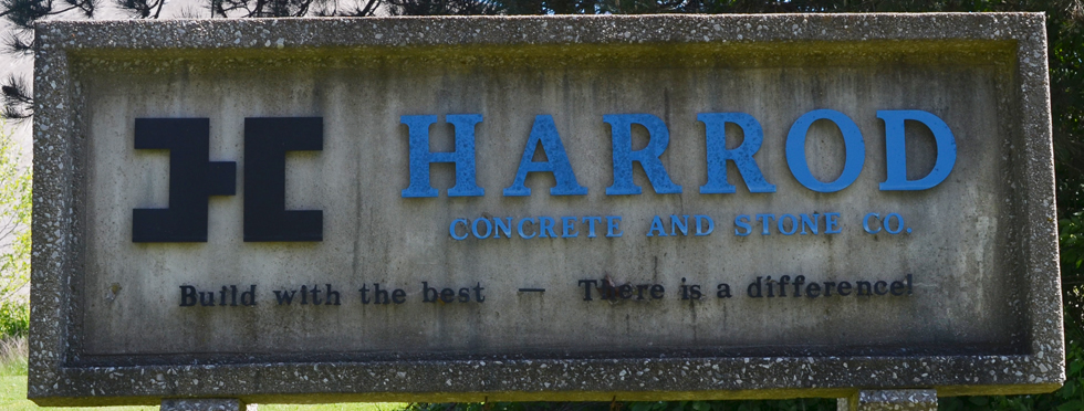 harrod concrete sign at office